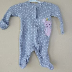 Carter's gray onesie with pink mouse NB